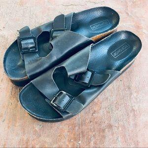 Topshop Black Sandals (Birkenstock Style)
